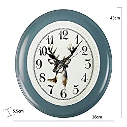 Wall Clock Household Simple Ellipse Animal Texture Decorative Silent Clock (Blue and Yellow 38435.5cm Packing of 1) LF (Color : Blue)