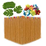 Luau Party Supplies - Hula Grass Table Skirt for Hawaiian Themed and Moana Birthday Party Decoration. Tropical Leaves + Hibiscus Flowers Included! (1, Straw)