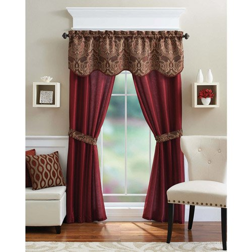 Better Homes And Gardens Medallion 5 Piece Curtain Panel Set, Brick