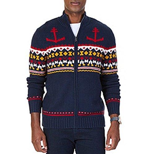 - Nautica Mens Anchor Fair Isle Cardigan Sweater, Blue, Large