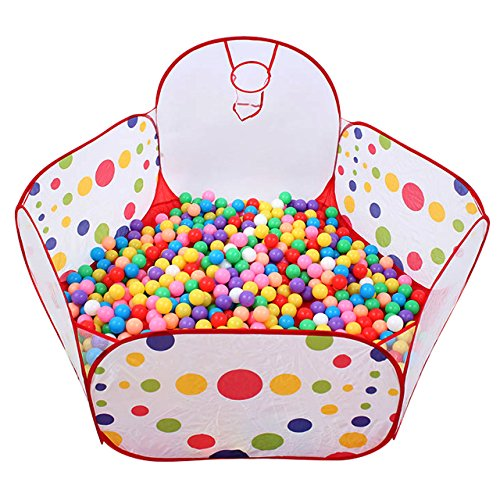 Newcomdigi Kids Ball Pit Ball Tent Toddler Ball Pit with Mini Basketball Hoop and Zippered Storage Bag, 4 Feet/120 Centimeter (Balls Not Included)