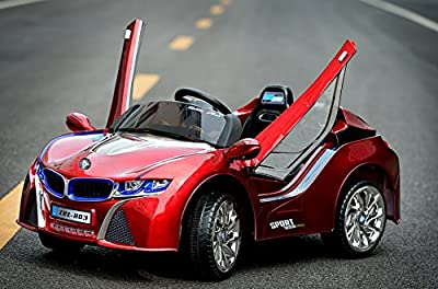 Electric Powered BMW Car For Kids 12 V Battery Charger LED Wheels Opening Doors MP3 Cord | Red