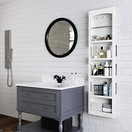 SONGMICS Bathroom Storage Cabinet, Door/Wall Mounted Save Floor Space, Adjustable Shelves White UBBC74WT by SONGMICS (Image #1)
