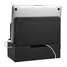 EasyAcc Double-deck Multi-device Charging Organization Station Docks Stand for RAVPower 6-Port USB Charger, Smart Phones/ Ipad/ Tablets for iPhone 7/7 Plus Samsung Galaxy S8/ S8 Plus Black Pu Leather