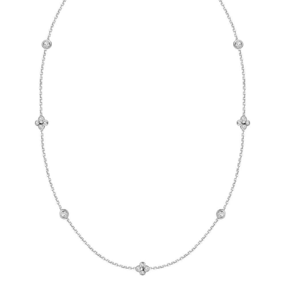 14 ct Weißszlig; Gold Diamant 0,16 DWT abwechselnd Lünette 4 Cluster verstellbar Halskette – 46 cm