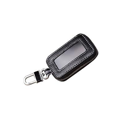 Black Universal Vehicle Car Smart Key Case Remote Fob Case Holder Keychain Ring Case Bag: Automotive