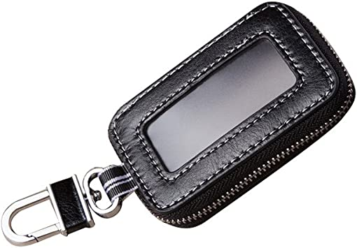 1pc Black Genuine Leather Key Chain Pouch Key Case Note Card Holder Key Bag LAZ