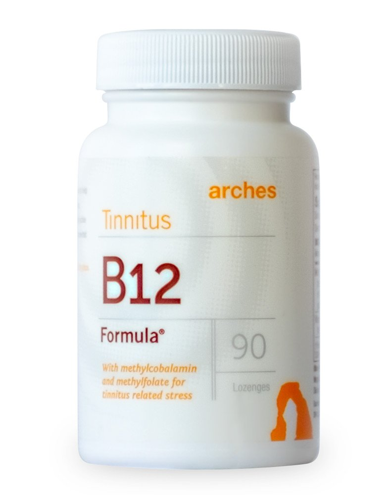 Arches Tinnitus B12 Formula - Now with Methylcobalamin and Methylfolate - 1000 mcg Sublingual Tablets Dissolve Under The Tongue - 1 Bottle - 90 Day Supply