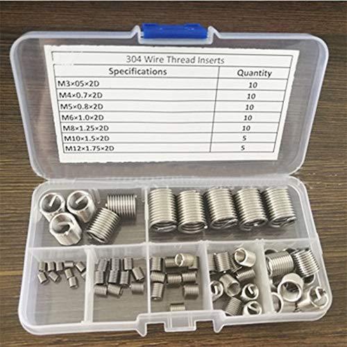 Ochoos M3-M12 Stainless Steel Silver Thread Repair Insert Kit M3 M4 M5 M6 M8 M10 M12 Hardware Accessories