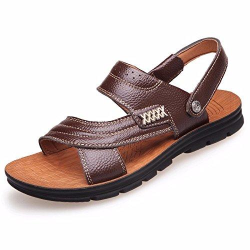 Uomini sandali Uomini vera pelle Il nuovo Spiaggia scarpa gioventù estate tendenza alunno sandali Tempo libero scarpa ,Marrone C,US=8.5,UK=8,EU=42,CN=43