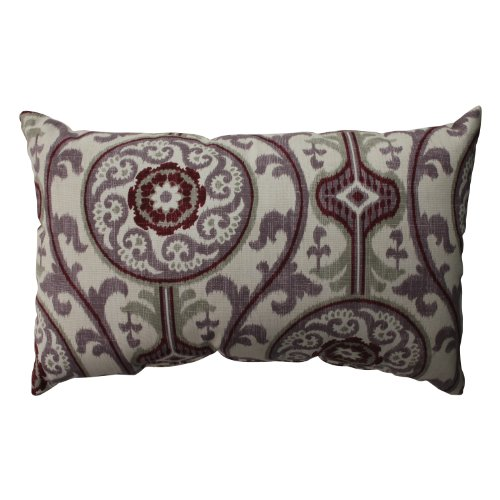 Pillow Perfect Suzani Damask Rectangular Throw Pillow, Plum