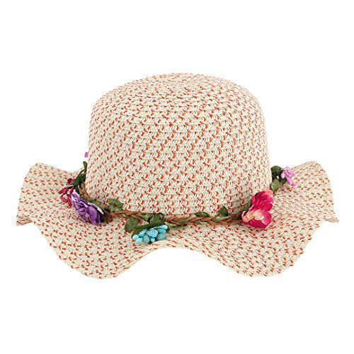 Multifit Girls Large Brim Sunhat Wavy Beach Hat Garland Cute Sun Cap(Orange)
