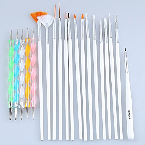 FlyItem 20pcs Nail Art Design Brushes Styling Dotting Painting Drawing Polish Pen Tools Set Set 20