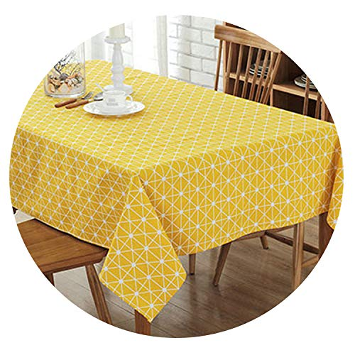 Be fearless Europe Tablecloth Stripe Dot line Cotton and Linen Table Cover Rectangular Elegant Home Party Wedding Decoration,Yellow,140250cm -