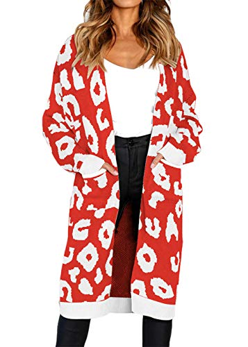 FAFOFA Long Open Front Cardigan Coat for Women Leopard Printed Casual Loose Winter Sweater Outwear Red S