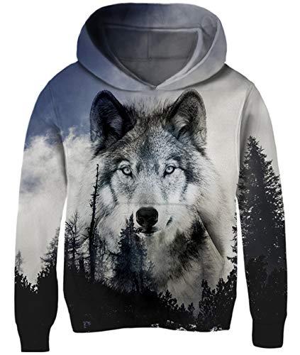 Idgreatim Kids Unisex Wolf Hoodies 3D Print Graphic Girls Pullover Sweatshirt Boys Hooded Tops Jackets 8-10 Years