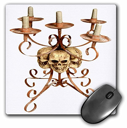 (3dRose 8 x 8 x 0.25 Inches Mouse Pad, Halloween Skull Triple Candelabra)