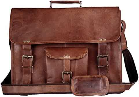 fb78725965 HandMadeCart Leather messenger briefcase laptop shoulder school military  satchel for mens and women holds computer laptop