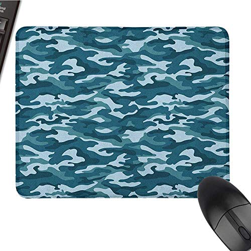 Cute Mouse pad Camo,Military Theme Camouflage in Oceanic Colors Sea Water Inspired, Dark Blue Slate Blue Baby Blue Large Mouse pad 9.8 x11.8 -