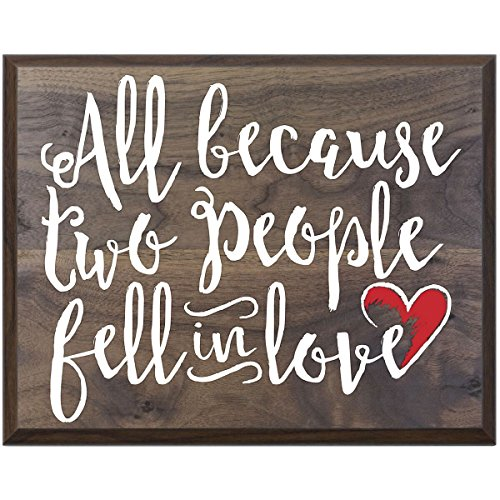 All because two people fell in love Gift for husband wife best friend wedding annivesary gift ideas 12 Inches Wide X 15 Inches High Wall Plaque By Dayspring Milestones(Walnut)
