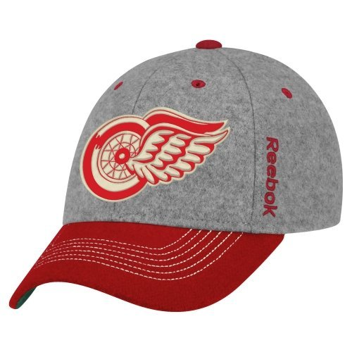 Hat Equipment Adult Reebok - Reebok Detroit Red Wings 2014 Winter Classic Player Structured Flex Hat - Gray/red (S/M)