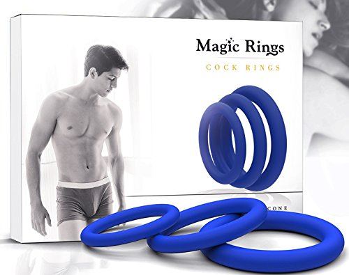 Price comparison product image Magic Rings Erection Ring Set 3Pcs (Blue) – 100% Medical Silicone Cock rings for Men – Erection Enhancing – For Longer Pleasure - Adult Toys for Sex - Ejaculation Delay Control Prostate Rings
