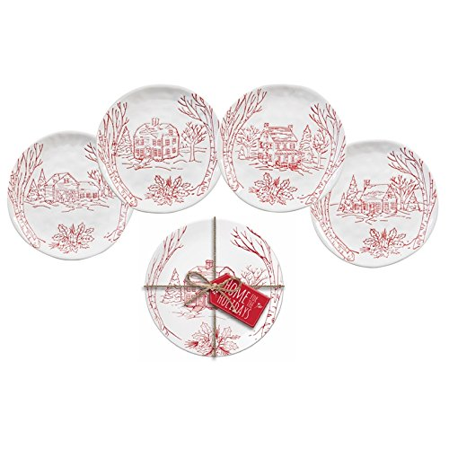 Cypress Home Holiday Farmhouse Ceramic Appetizer Plate Gift Set with Gift Tag, Set of -