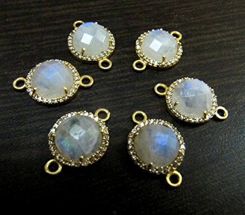 Rainbow Moonstone Round Briolette Connectors With Pave CZ Gold Plated / Double Loop 13 mm Faceted Gemstone Pendant / Pave Link Connectors