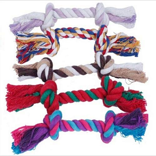 WISTIC Chew Toys, Funny Creative Pet Puppy Dog Chew Knot Toy Cotton Braided Bone Colorful Rope
