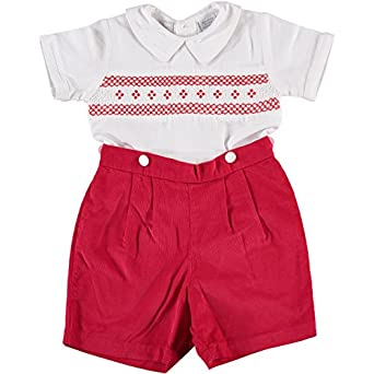 Kids 1950s Clothing & Costumes: Girls, Boys, Toddlers Boys Diamond Smocking Red Corduroy Short Sleeve Bobbie Suit $49.00 AT vintagedancer.com