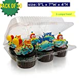 6 compartment Clear Cupcake Muffin Containers with Hinged Lid, Strong and Sturdy, BPA Free, crystal Clear Plastic, Cupcake and Muffin Containers ( pack of 30, 6-Compartment)