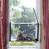 LIFIS Cat Window Perch Cat Window Bed Hammock Kitty Sunny Soft Mats Stable Metal Frames Seat Up to 55lb (Double layers, Grey) (Cat Face)