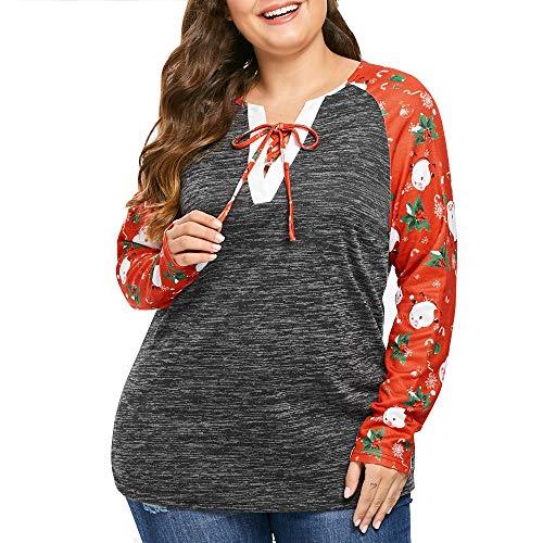Spring Coin Set - XOWRTE Women's Christmas Santa Claus Printed Lacing Neck Fall Winter Long Sleeve Tunic T-Shirt Blouse Tops