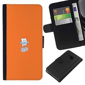 LECELL--Cuero de la tarjeta la carpeta del tirón Smartphone Slots Protección Holder For HTC One M7 -- Triste Triturado De Papel --