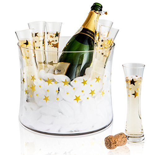 Glass Champagne Bucket - Artland Gold Stars 7 Piece Glass 4 Ounce Stemless Toasting Flute Set with Ice Bucket
