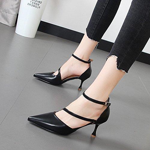 Xue Qiqi Flache Spitze high-heel high-heel high-heel Schuhe Kinder fein mit wilden Karriere Arbeit Schuhe für Frauen singles Schuhe 6634fe