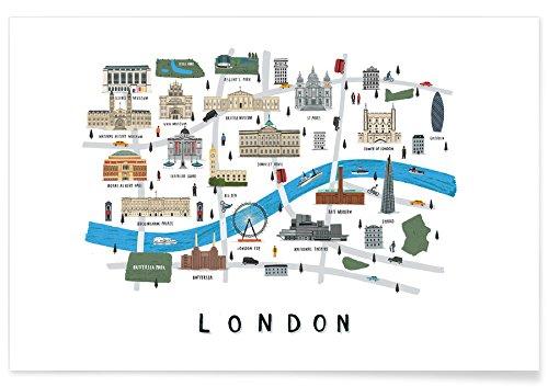 Affiche illustrée des lieux emblématiques de Londres
