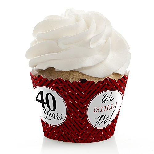 We Still Do - 40th Wedding Anniversary Party Decorations - Party Cupcake Wrappers - Set of 12