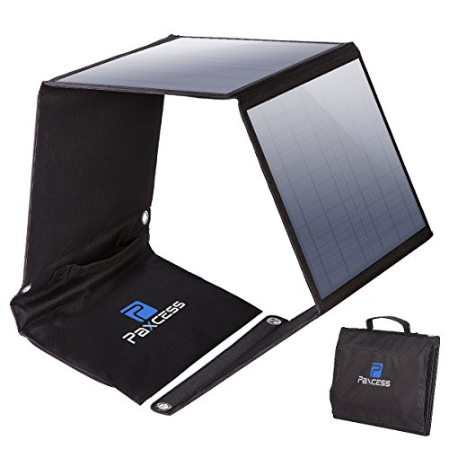 PAXCESS Foldable 50W Solar Panel Charger for Suaoki Portable Generator/8mm Goal Zero Yeti 100/150/400 Power Station Battery Pack/USB Devices, with 3 USB Ports ()