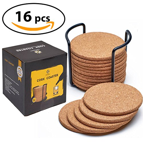 "Round Cork Coaster - Natural Cork Coasters With Round Edge 4"" 16pc Set with Metal Holder Storage Caddy – 1/5"" Thick, Absorbent, Eco-Friendly, Heat-Resistant, Reusable Saucers for Cold Drinks, Wine Glasses, Cups & Mugs"
