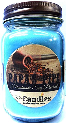 Papa's Pipe 16oz All Natural Country Jar Soy Candle - Wonderful Tobacco & Cherry Blend Handmade