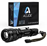 Aclide F2 LED Flashlight Kit, Tactical, Rechargeable, Focusing, Pocket-Sized Torch with 700 Lumen CREE LED, Water & Shock Resistant, 5 Light Modes, 18650 Battery and Charger Included