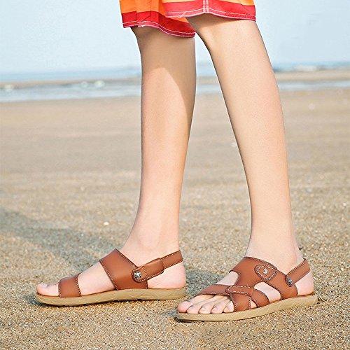 HUO Hausschuhe Männer Jugend Breathable Sandalen Wasserdicht Rutschfeste Dual Use Strand Schuhe Casual Persönlichkeit Soft Bottom Hausschuhe Kühle atmungsaktiv ( Farbe : Hellbraun , größe : EU41/UK7.5 C