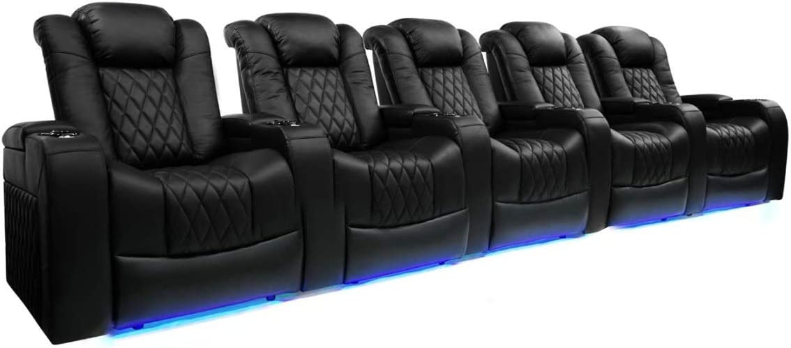 Valencia Tuscany Home Theater Seating Top Grain Nappa Leather, Power Reclining, Power Lumbar Support, Power Headrest Black, Row of 5