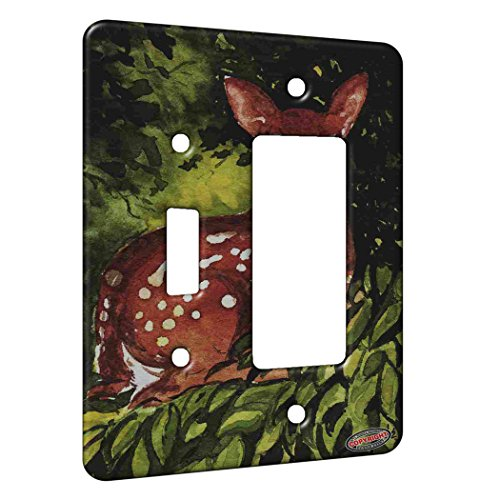 2 Gang Single Toggle / Single Duplex Rocker Wall Plate - Whitetail Deer Fawn in Hiding Wildlife Art by Denise Every (Fawn Whitetail)