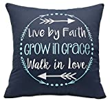 YugTex Pillowcases Live by faith Inspirational Embroidered Throw Pillow Cover Gifts for her women Quote Decorative pillowcase Typography Wedding Anniversary Couple Lovers Cushion Cover (18''X18'', Navy)