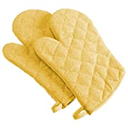DII 100% Cotton, Machine Washable, Everyday Kitchen Basic Terry Ovenmitt Set of 2, Yellow