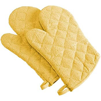 DII 100% Cotton, Terry Oven Mitt Set Machine Washable, Heat Resistant, 7 x 13, Yellow, 2 Piece
