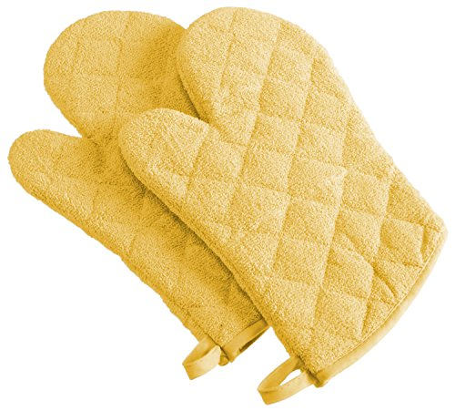 DII 100% Cotton, Machine Washable, Everyday Kitchen Basic Terry Ovenmitt Set of 2, Yellow ()