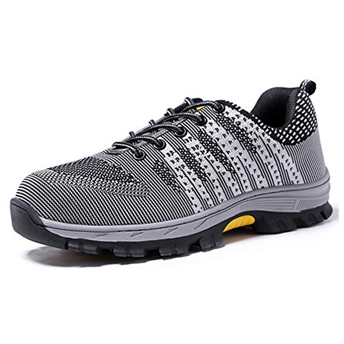 Mens Breathable Air Mesh Steel Toe Safety Shoes with Puncture Proof Midsole Slip Resistance Light Weight Work Boots by BIUHE (Image #7)